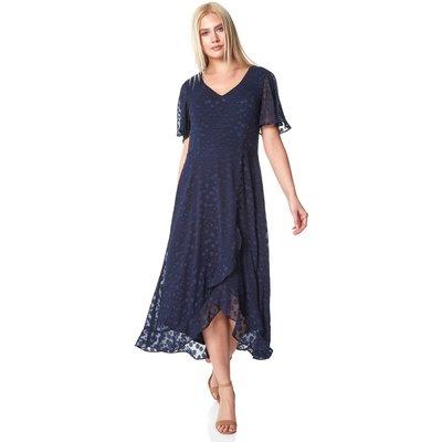 Spot Frill Asymmetric Midi Dress