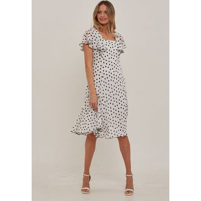 Julianna Spot Chiffon Cape Dress