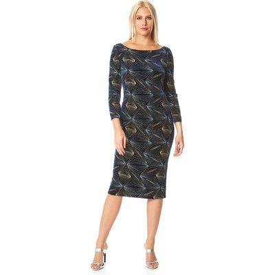 Glitter 3/4 Sleeve Velvet Dress