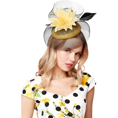 Large Flower Veil Pillbox Fascinator