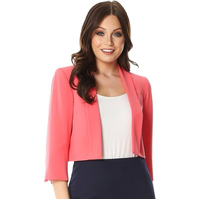 3/4 Sleeve Crepe Cropped Jacket