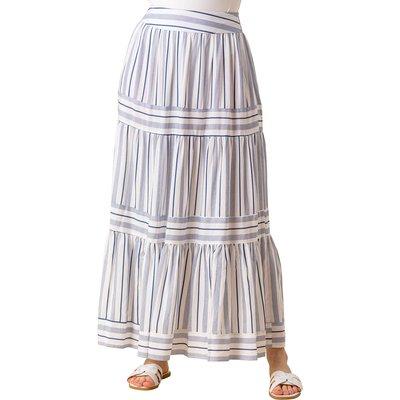 Tiered Stripe Print Maxi Skirt