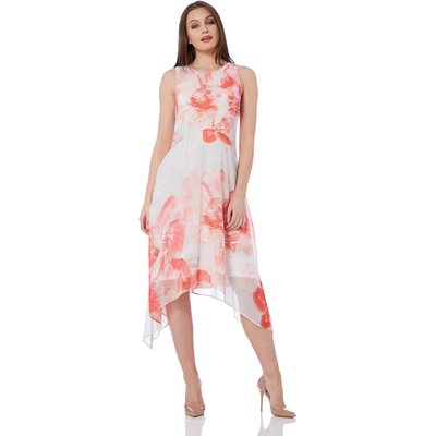 Floral Chiffon Hanky Hem Dress