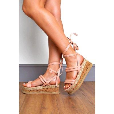 Suede Padded Strap Tie Leg Flatform Sandals