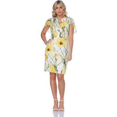 Floral Print Chiffon Scuba Dress
