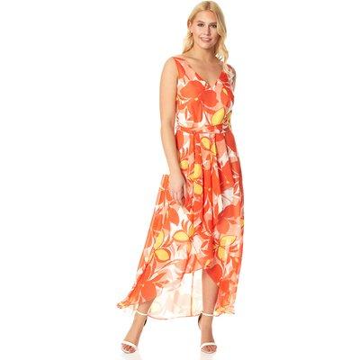 Floral Print Dipped Hem Midi Dress