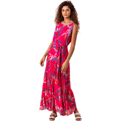 Tropical Print Pleated Dress