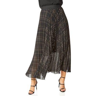 Metallic Check Print Pleated Maxi Skirt