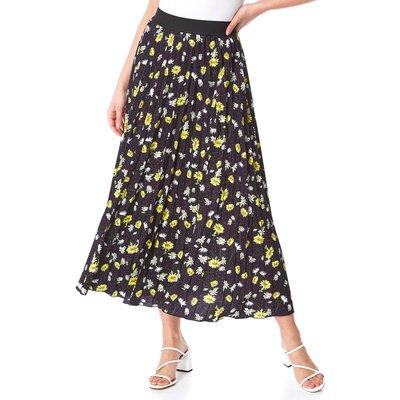 Daisy Print Pleated Midi Skirt