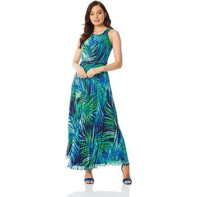 Palm Print Pleated Maxi Dress