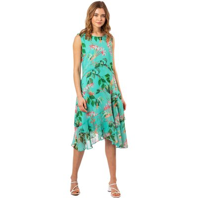 Tropical Print Chiffon Dress