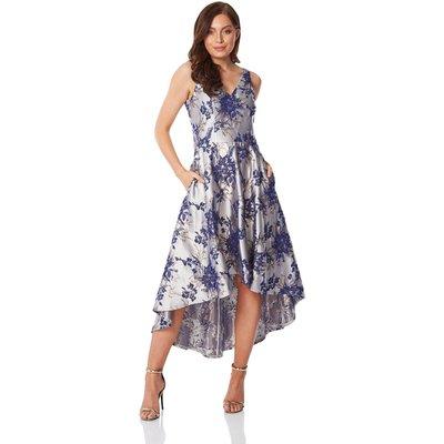 Floral Jacquard Gown Dress