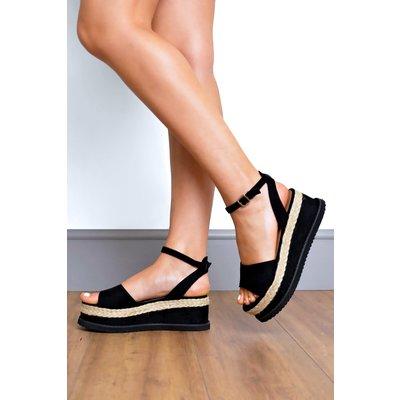 Faux Suede Flatform Espadrille Sandals
