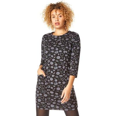 Spot Circle Print Jersey Tunic Dress