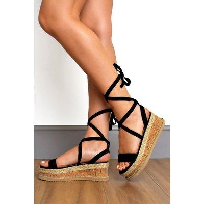 Suede Tie Leg Flatform Sandals
