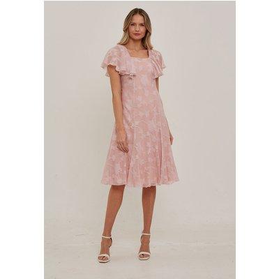Julianna Burnout Print Cape Sleeve Dress