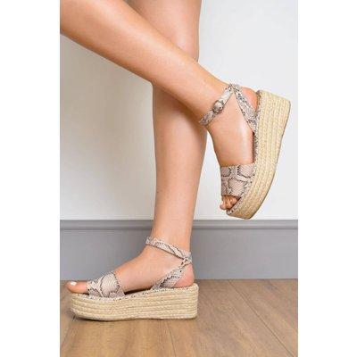 Snake Print Flatform Sandals