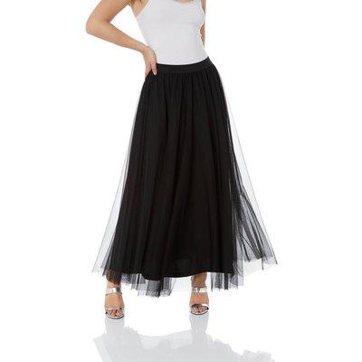 Pleated Mesh Maxi Skirt