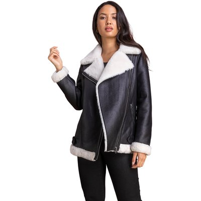 Faux Fur Lined Zip Detail Aviator Jacket