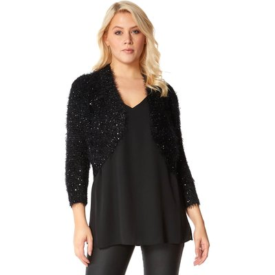 Fluffy Sequin Embellished Bolero
