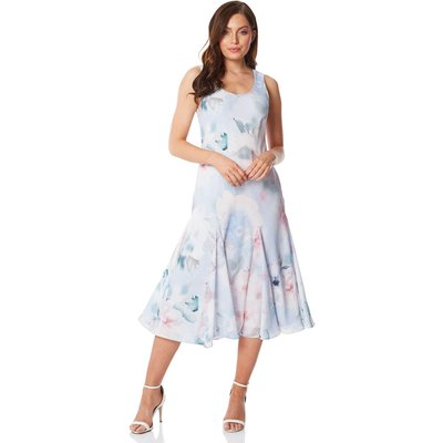 Floral Bias Cut Fluted Hem Midi Dress