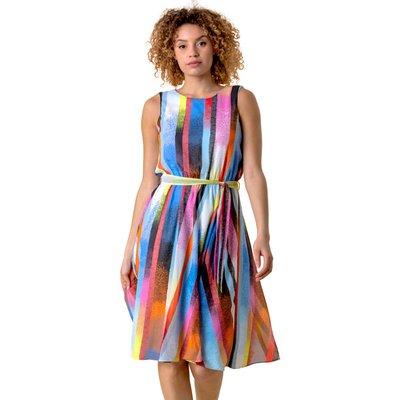 Rainbow Stripe Print Midi Dress
