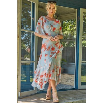 Floral Frill Short Sleeve Midi Dress