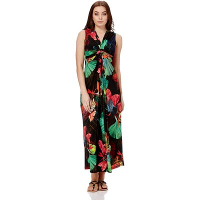 V Neck Tropical Print Maxi Dress