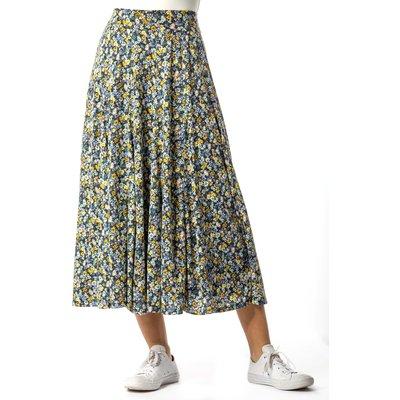 Ditsy Floral Burnout Midi Skirt