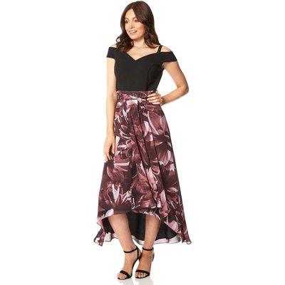 Floral Print Cold Shoulder Maxi Dress
