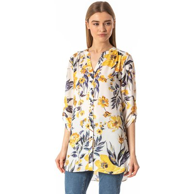 Floral Button Through Tunic Blouse