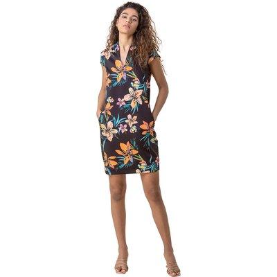 Tropical Print Scuba Cocoon Dress