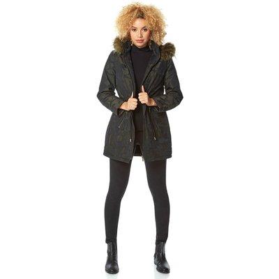 Camo Print Faux Fur Trim Hooded Coat