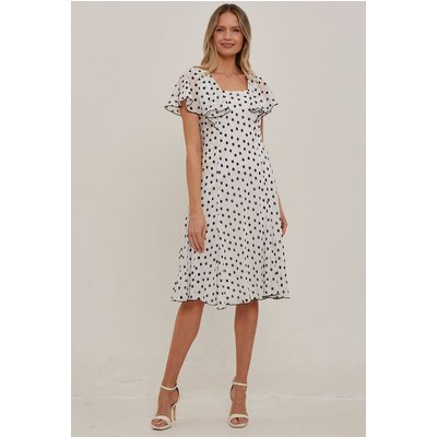 Julianna Spot Chiffon Cape Dress