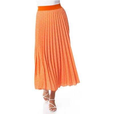 Spot Print Pleated Midi Skirt