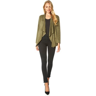 Faux Suede Waterfall Front Jacket