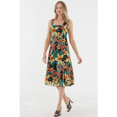 Julianna Tropical Floral Print Sun Dress