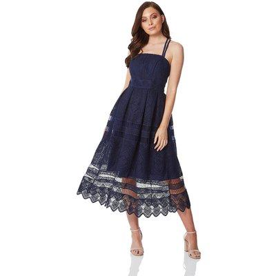 Lace Cross Back Midi Dress