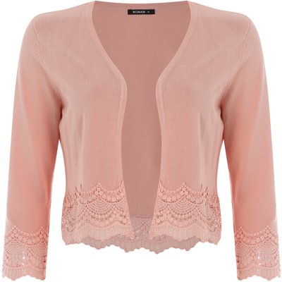 Lace Trim Cropped Shrug
