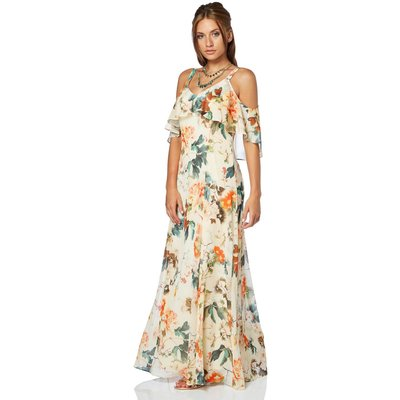 Oriental Cold Shoulder Chiffon Maxi Dress