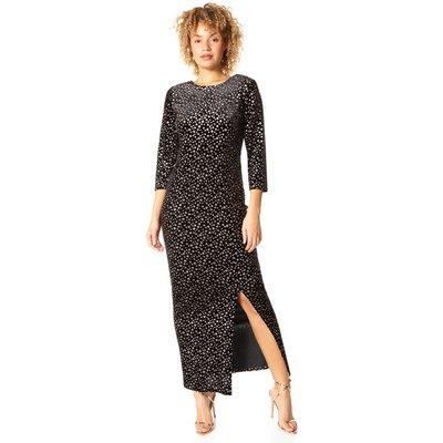 Glitter Spot Side Split Maxi Dress