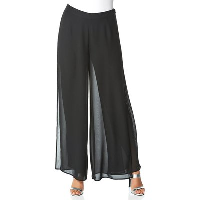 Diamante Embellished Side Split Chiffon Trousers