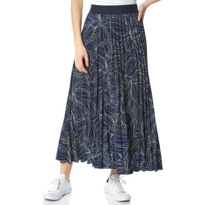 Linear Floral Print Pleated Midi Skirt