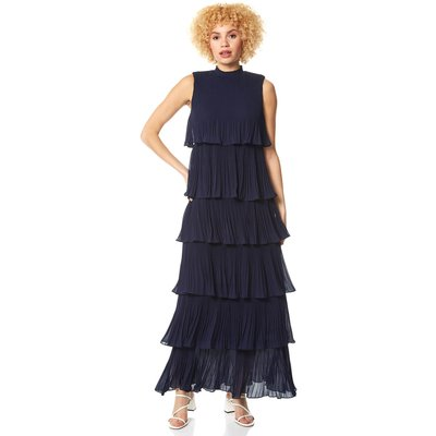 Pleated Layer Frill Maxi Dress