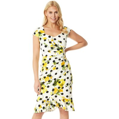 Floral Spot Fluted Fitted Scuba Dress