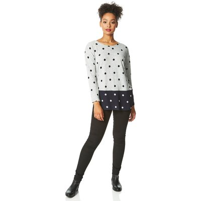 Contrast Spot Print Long Sleeve Top