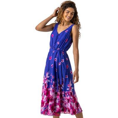 Floral Print Belted Midi Dress