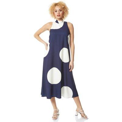 Spot Print High Neck Swing Dress