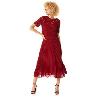 Lace Top Overlay Pleated Midi Dress