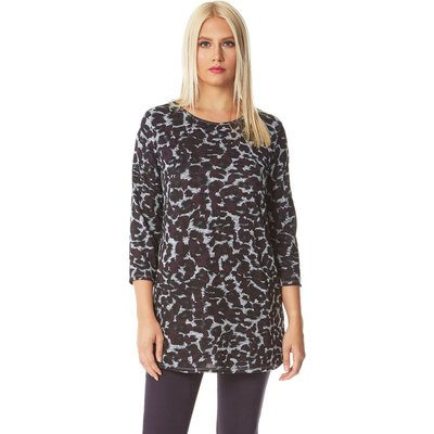 Animal Print Jersey Top with Pockets